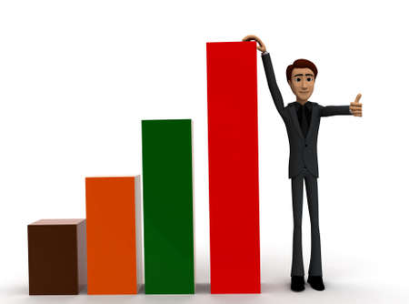 growth chart: 3d man presenting bar graph concept on white background - 3d rendering , front angle view