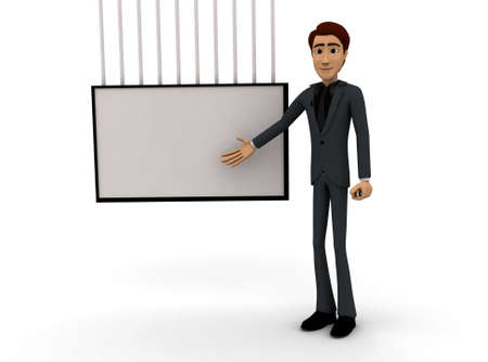 presentaion: 3d man presenting presentaion with the help of board concept on white background - 3d rendering , front angle view