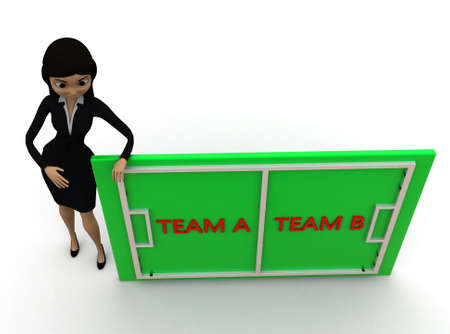 playing field: 3d woman presenting playing field with team a and team b concept  on white background - 3d rendering ,, top angle view Stock Photo
