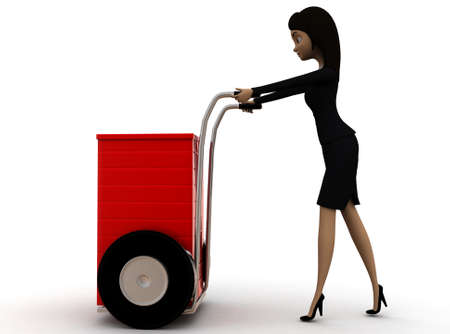pushing: 3d woman pushing handtruck concept on white background - 3d rendering ,,   side angle view