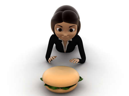 woman eating: 3d woman going to eat burger concept on white background - 3d rendering ,,  front angle view