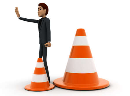 restricting: 3d man showing stop - retriction sign using hand and a traffic cone nearby  on white background - 3d rendering , side angle view