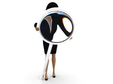 magnification: 3d woman looking through magnifier concept  on white background - 3d rendering , front angle view