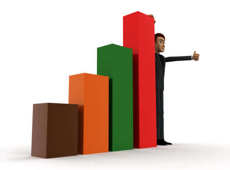 growth chart: 3d man presenting bar graph concept on white background - 3d rendering ,  side angle view