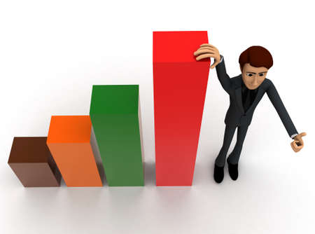 growth chart: 3d man presenting bar graph concept on white background - 3d rendering ,  top angle view