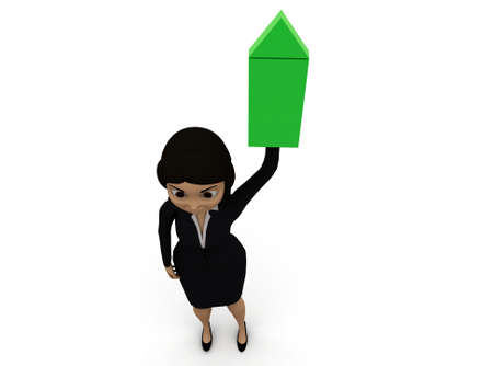 illustrating: 3d woman illustrating green arrow concept in white isolated background - 3d rendering , , top angle view