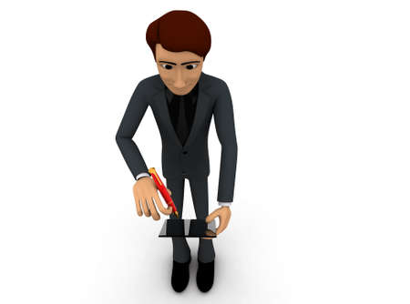 taking notes: 3d man taking down the notes concept on white background - 3d rendering ,  top angle view