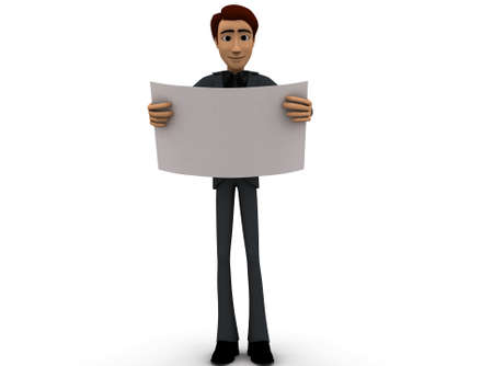 front angle: 3d man looking paper - plan concept on white background - 3d rendering , front angle view