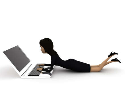 woman laptop: 3d woman working on laptop concept on white background - 3d rendering ,   side angle view