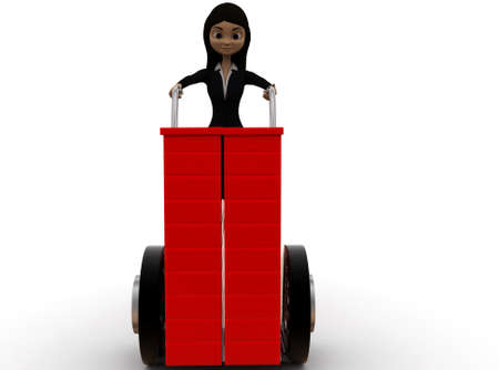 front angle: 3d woman pushing handtruck concept on white background - 3d rendering ,,  front angle view Stock Photo