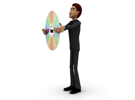 compact disc: 3d man holding a compact disc concept on white background - 3d rendering ,  side angle view Stock Photo
