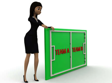 playing field: 3d woman presenting playing field with team a and team b concept  on white background - 3d rendering ,, side angle view