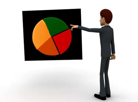 man pointing: 3d man pointing at a pie chart graph concept on white background - 3d rendering ,  front angle view
