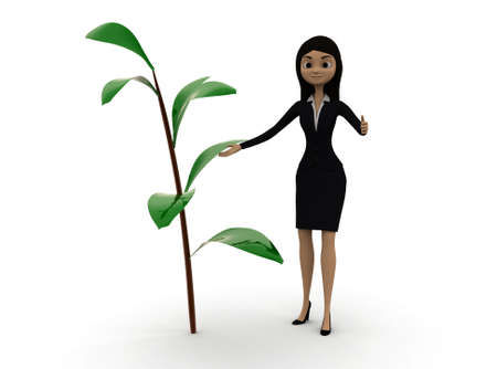 plant stand: 3d woman standing near by a small plant concept in white isolated background , front angle view