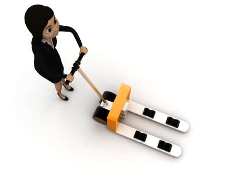 pulling: 3d woman pulling palletizer concept on white background - 3d rendering ,,  top angle view