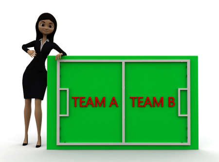playing field: 3d woman presenting playing field with team a and team b concept  on white background - 3d rendering ,, front angle view