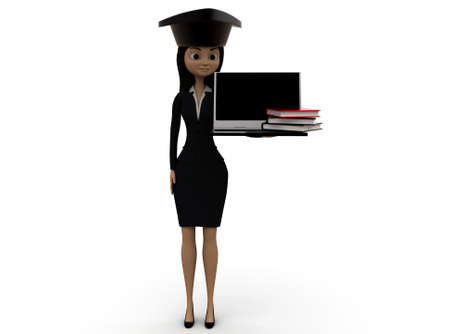 scholar: 3d woman scholar student concept on white background - 3d rendering ,, front angle view