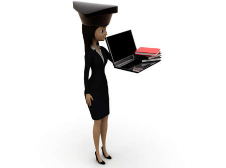 scholar: 3d woman scholar student concept on white background - 3d rendering ,, side  angle view
