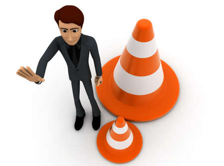 restricting: 3d man showing stop - retriction sign using hand and a traffic cone nearby  on white background - 3d rendering ,  top angle view Stock Photo