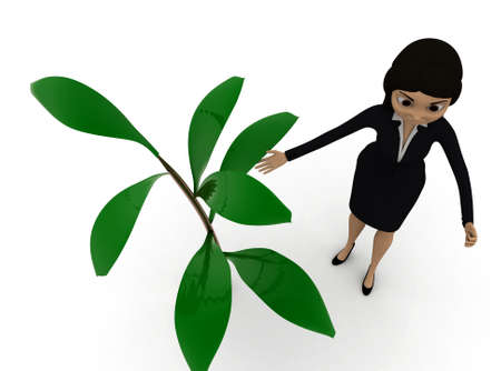 plant stand: 3d woman standing near by a small plant concept in white isolated background , top angle view Stock Photo