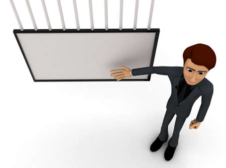 presentaion: 3d man presenting presentaion with the help of board concept on white background - 3d rendering , top angle view