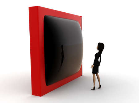 watch tv: 3d woman watch tv concept on white background - 3d rendering ,, side angle view