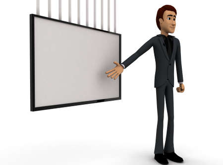 presentaion: 3d man presenting presentaion with the help of board concept on white background - 3d rendering , side angle view Stock Photo