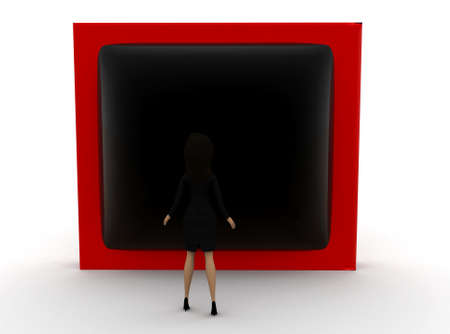watch tv: 3d woman watch tv concept on white background - 3d rendering ,, front angle view Stock Photo