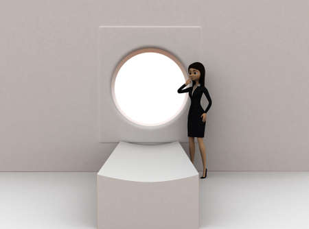 ct scan: 3d woman  standing in front of ct scan concept in white isolated background , front angle view Stock Photo