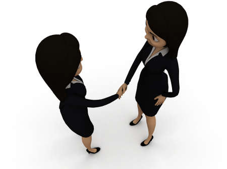 each: 3d women shaking hands each other concept in white isolated background , top angle view Stock Photo