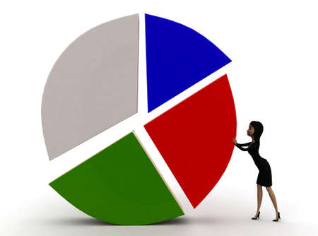pushing: 3d woman pushing a circular pie chart on floor concept in white isolated background  , front angle view Stock Photo