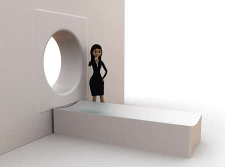 ct scan: 3d woman  standing in front of ct scan concept in white isolated background , side angle view