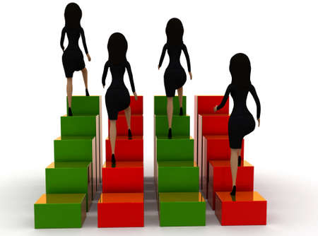 bar one: 3d group of woman ,each one situated in different places of a bar graph concept , back angle view Stock Photo