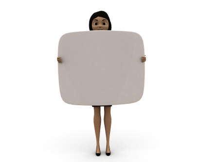 edged: 3d woman holding curve edged board in hands concept in white isolated background , front angle view Stock Photo