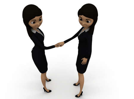 other: 3d women shaking hands each other concept in white isolated background , front angle view Stock Photo