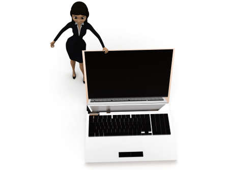 woman laptop: 3d woman presenting laptop concept in white isolated background , top angle view Stock Photo