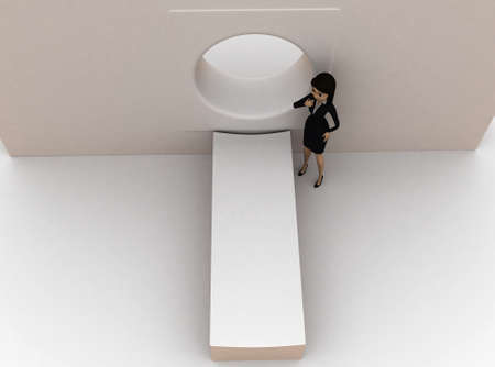 ct scan: 3d woman  standing in front of ct scan concept in white isolated background , top angle view
