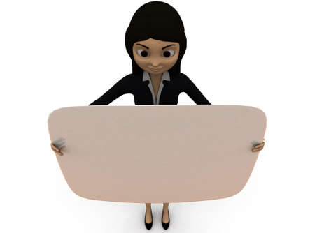edged: 3d woman holding curve edged board in hands concept in white isolated background , top angle view