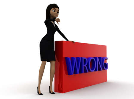 thumbs down: 3d woman showing thumbs down and wrong text concept in white isolated background , side angle view