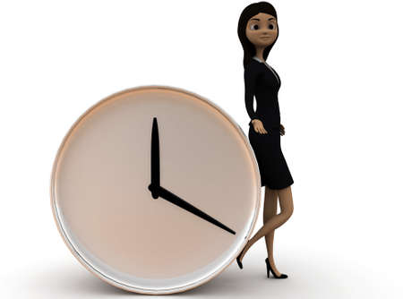 lady clock: 3d woman standing near a table clock concept in white isolated background , front angle view Stock Photo