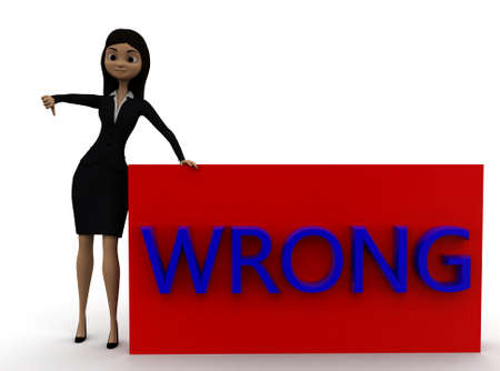 thumbs down: 3d woman showing thumbs down and wrong text concept in white isolated background , front angle view Stock Photo