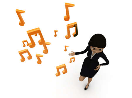 top angle view: 3d woman presenting musical notes concept in white isolated background , top angle view