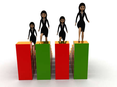 bar one: 3d group of woman ,each one situated in different places of a bar graph concept , front angle view