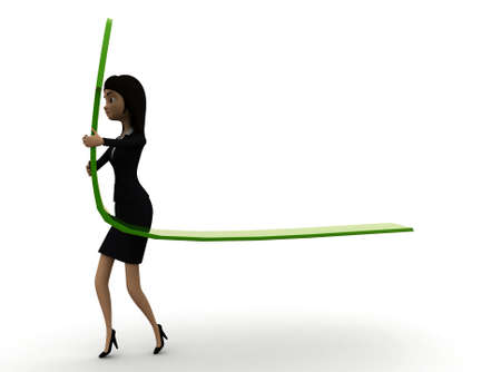upward: 3d woman holding green upward position arrow concept in white isolated background , side angle view