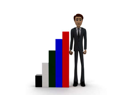 front angle: 3d man presenting colourful bar graph concept on white background- 3d rendering , front angle view