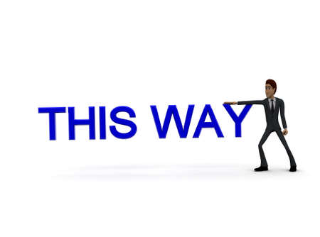 towards: 3d pointing towards and this way text concept in white isolated background , front angle view Stock Photo