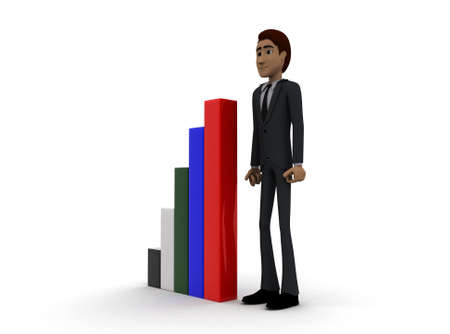 statics: 3d man presenting colourful bar graph concept on white background- 3d rendering , side angle view