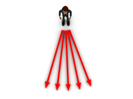 coming out: 3d man- arrows coming out concept on white background- 3d rendering , top angle view