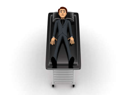 resting: 3d man sleeping and resting on stretcher concept on white background- 3d rendering , top angle view