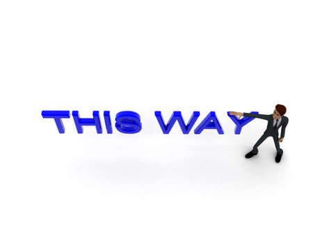 towards: 3d pointing towards and this way text concept in white isolated background , top angle view